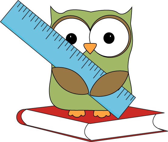 owl sitting on book with ruler